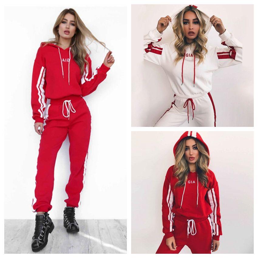 a695fcb2 2019 Women Tracksuit Hoodies Sweatshirt Pants Sets Pattern Sport Wear  Casual Sweat Suit Long Sleeve Outdoor Jumpsuit Pants GGA150 From  Best_sports, ...