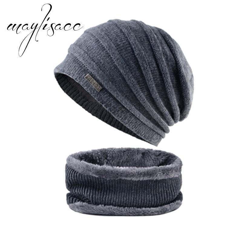 aae94f1aa73 Maylisacc 2018 High Quality Men s Winter Warm Knitted Hat With Scarf ...
