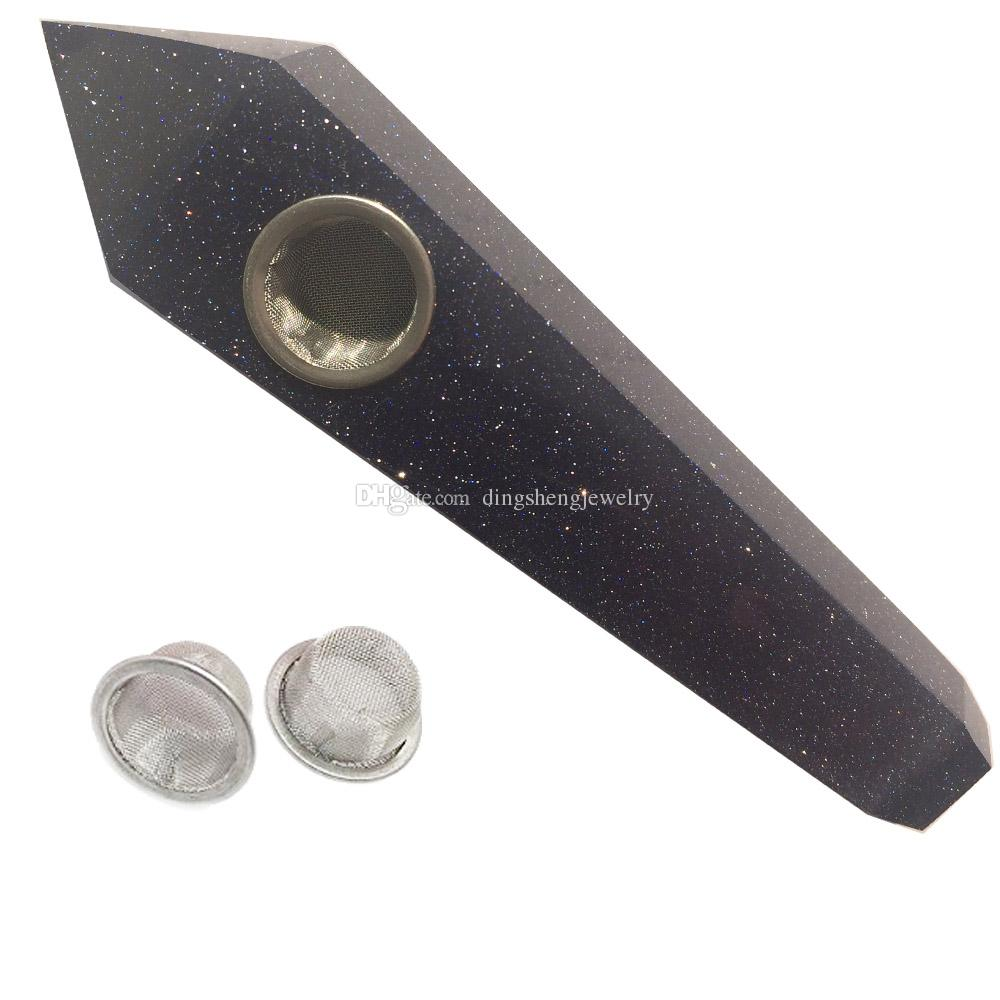 DingSheng Natural Blue Goldstone Quartz Smoking Pipe Crystal Stone Wand Point Cigars Pipes With 3 Metal Filters For Health Smoking