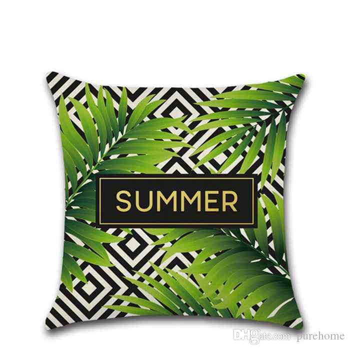 Happy Summer Series Pillow Cover Green Tropical Plant Linen Pillow Case Sofa Cushion Cover Home Cafe Decor Gift for Housewarming Party