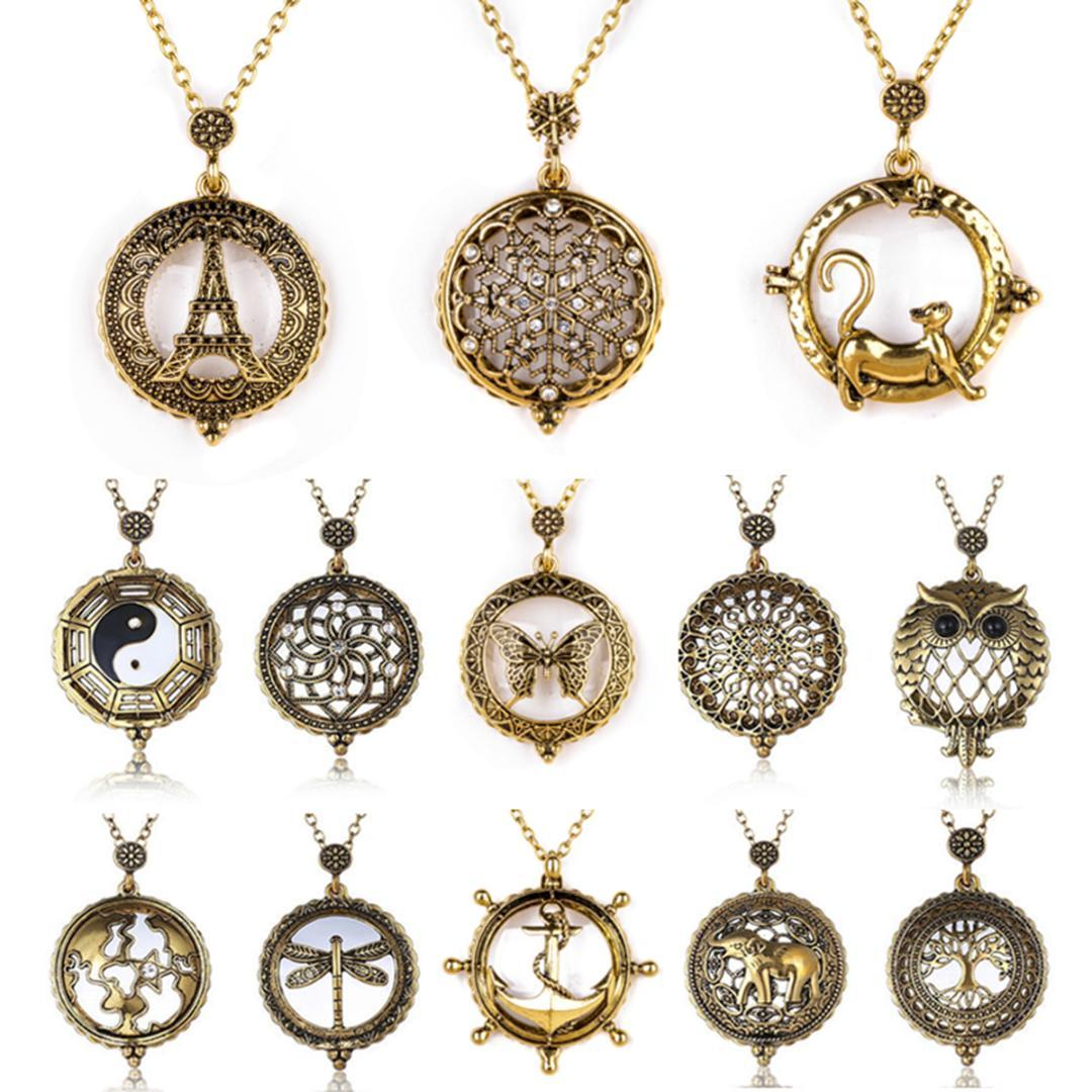 2138ce3c59088 Retro Antique Statement Necklace Sainio Crystal Cat Magnifying Glass  Pendant Long Chain Necklace Fashion Jewelry For Women