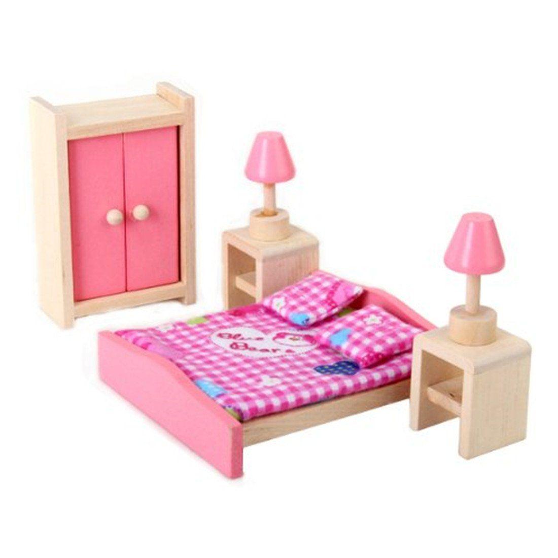 Mini Children Wooden Doll House Furniture Kids Bedroom Little Girl Doll  Houses Wood Dollhouse Kits From Breadfruiter, $30.24| Dhgate.Com