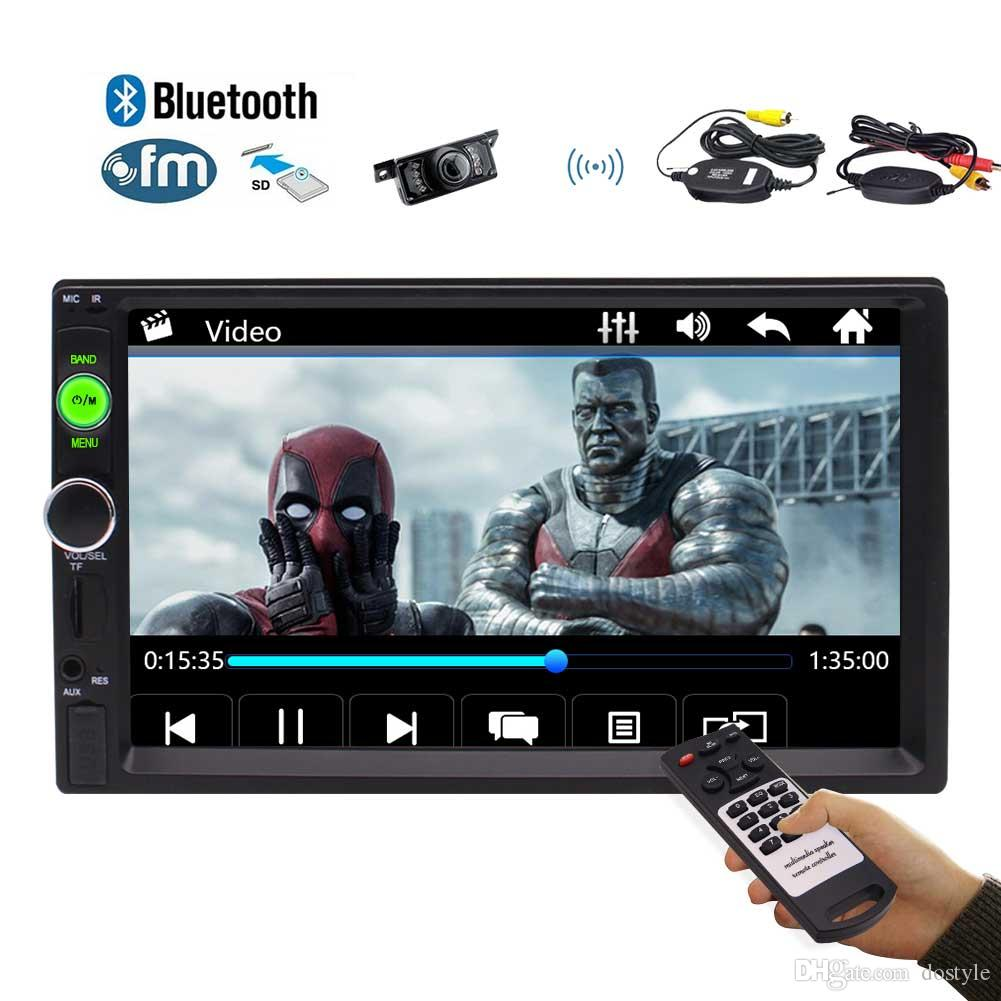 Wireless Backup Camera 7 Double Din Car Stereo Radio MP5 Player  Bluetooth/Audio/MP5/USB/SD/FM In-Dash Aux Input Receiver USB Charger Remote