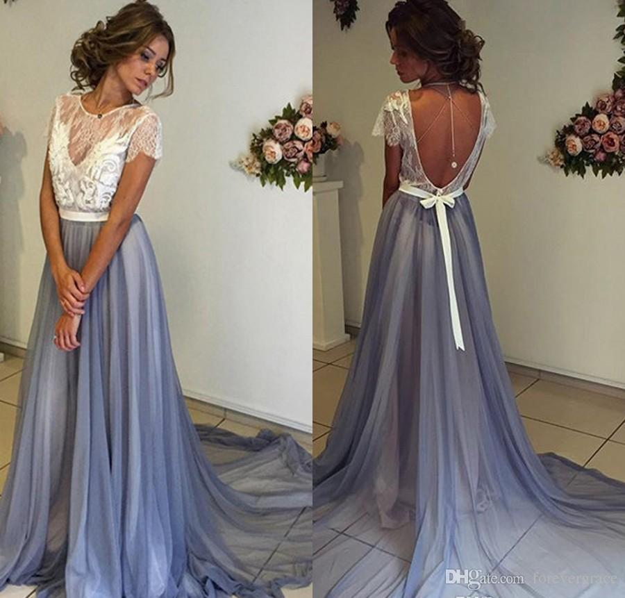 eae995f7b8a4 2018 Summer Boho Bridesmaid Dress Jewel Neck Backless Country Garden Formal  Wedding Party Guest Maid Of Honor Gown Plus Size Custom Made Pewter  Bridesmaid ...