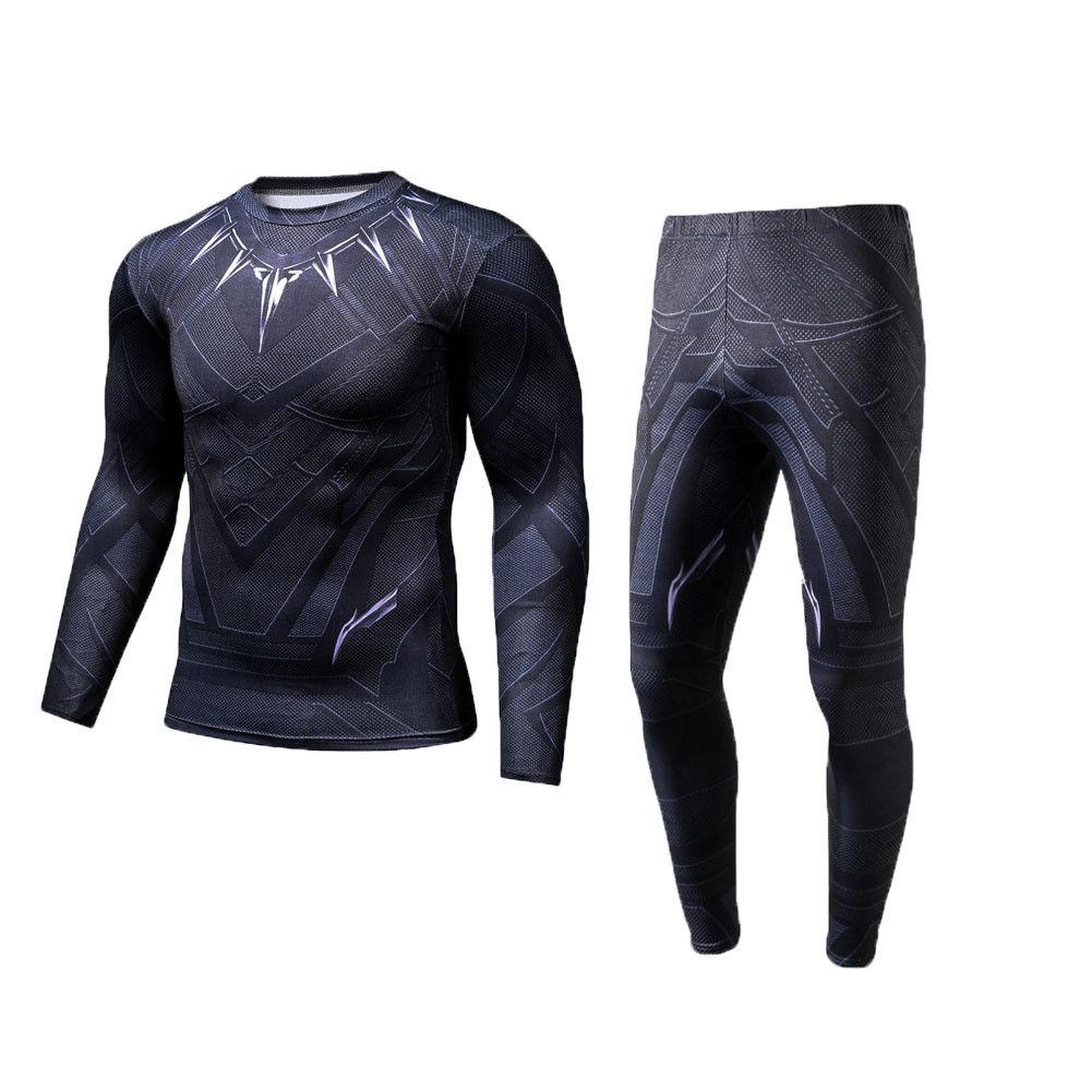 70134e3428237 2019 2018 Men Compression T Shirt Pants Black Panther 3d Print Coaplay Costumes  T Shirts Long Sleeve Compression Sets Male From Yonnie