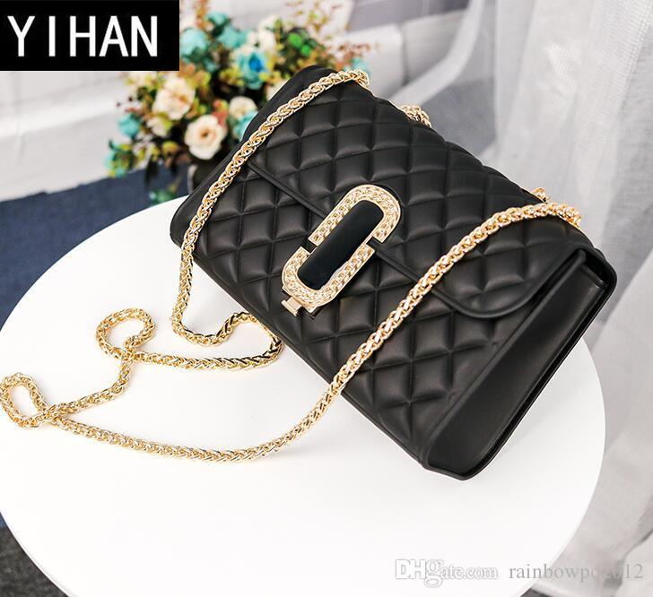 Factory Self Owned Brand Women Bag Classic Spoof Matte Frosting Jelly Bag  Fashion Rhombus Lady Chain Bag Small Fragrant Wind Diamond Handbag Shoulder  Bags ... e3f20b97689fc