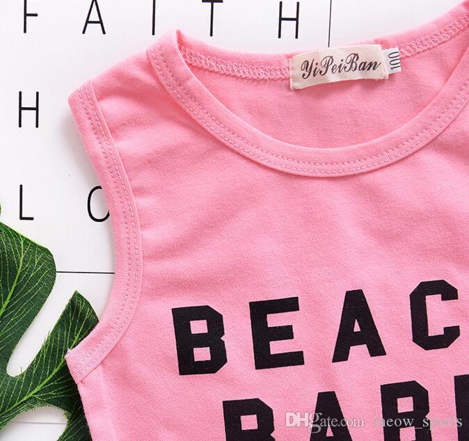 Vêtements d'été pour filles pour bébés Ensemble Alphabétique Impression Costumes à Franges Vêtements pour Bébés Haut + Shorts bébé fille costumes