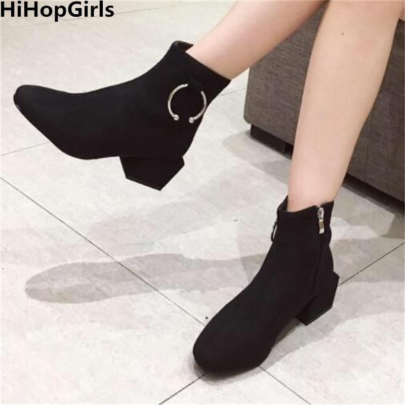 a4c15d60790 HiHopGirls New Simple Series Women Martin Shoes Bare Boots Suede Square  Head Thick With High Heels Woman Winter Nightclub Shoes