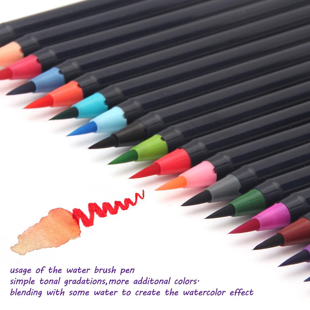 2018 free shipping 20 Color Premium Painting Soft Brush Pen Set Watercolor  Markers Pen Effect Best For Coloring Books ARI-116