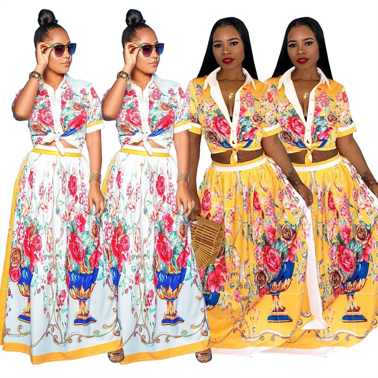 30ced4e576f 2019 Crop Top And Skirt Set Floral Two Piece Maxi Skirt Set F0215 Women  Clothing Matching Sets With Skirt From Sarmit