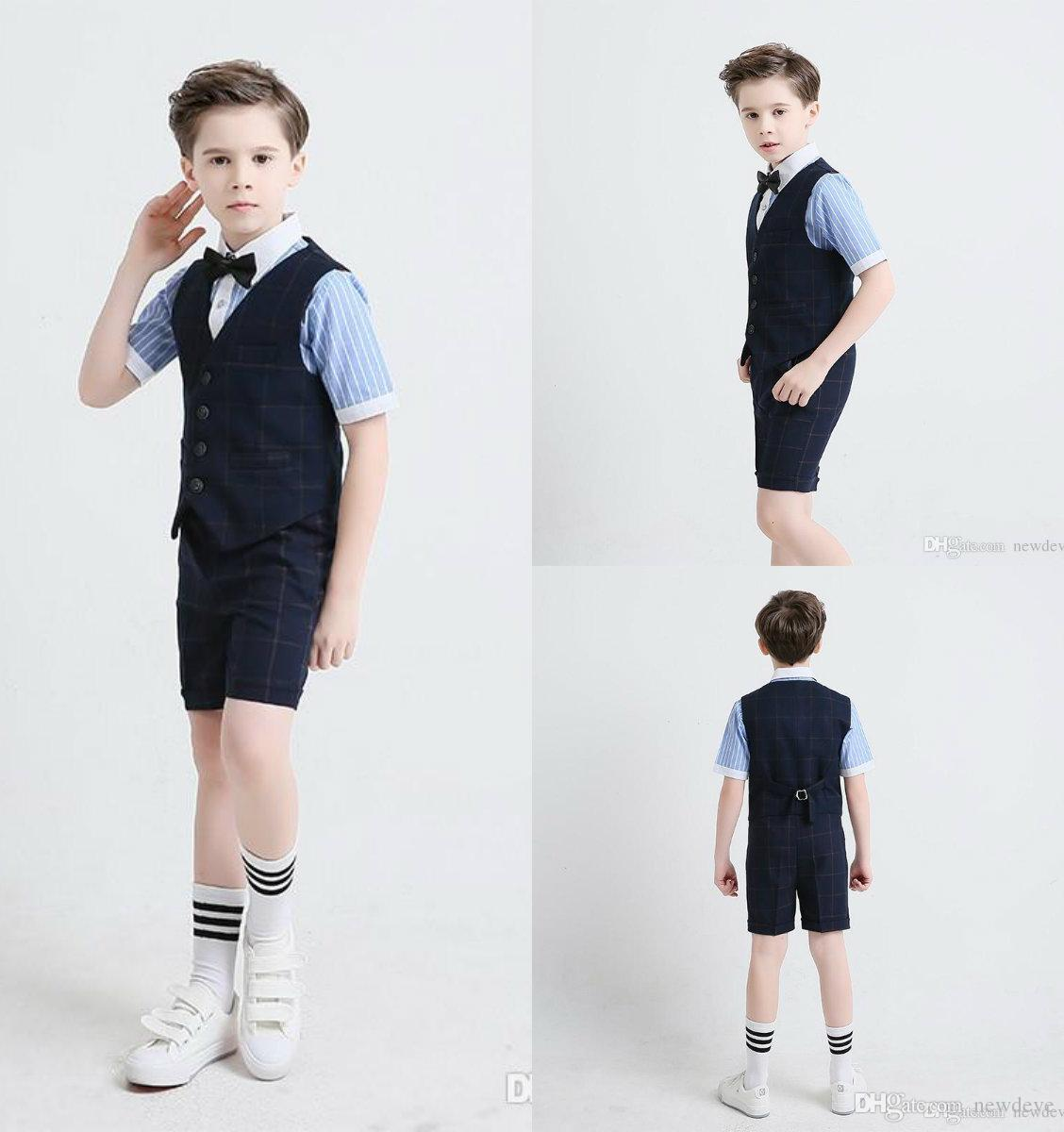 e43256b29 Two Pieces Suit With Damier Check Short Sleeve And Pants Boy S ...