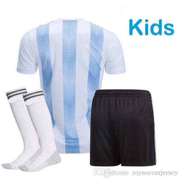 huge selection of 61a39 042c5 Argentina KIDS Soccer Jersey 2018 Argentina boys youth kits DYBALA Messi  kun Aguero Di Maria Child football soccer shirt uniform with socks