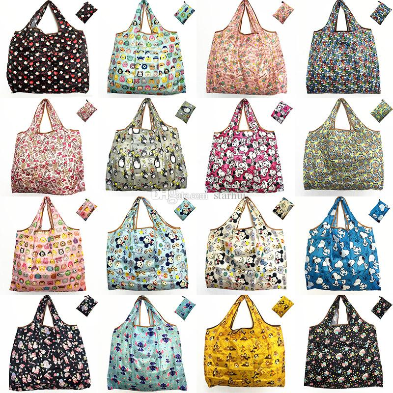 New Waterproof Nylon Foldable Shopping Bags Reusable Storage Bag Eco Friendly Shopping Bags Tote Bags Large Capacity WX9-203