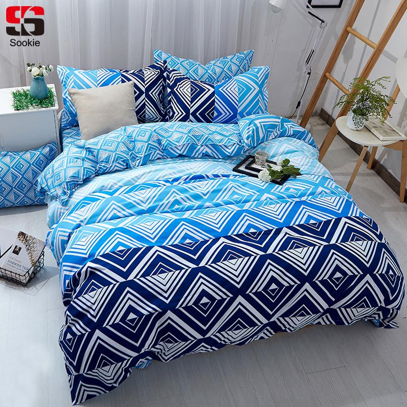 b8066049a874 Sookie Blue Plaid Bedding Set Twin Full Queen King Size Duvet Cover Sets  Modern Geometric Print Bedclothes Soft Bed Linen King Duvet Sets Duvets For  Sale ...