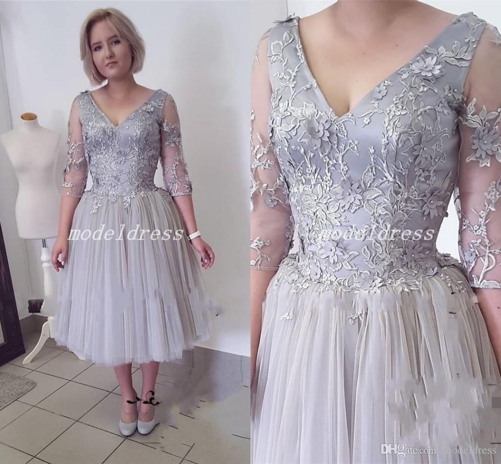 c1528acec124 2018 Tea Length Silver Mother Of The Bride Dresses V Neck 3/4 Long Sleeve  Appliques Short Women Prom Party Wedding Guest Gowns Wedding Dresses For  Mothers ...