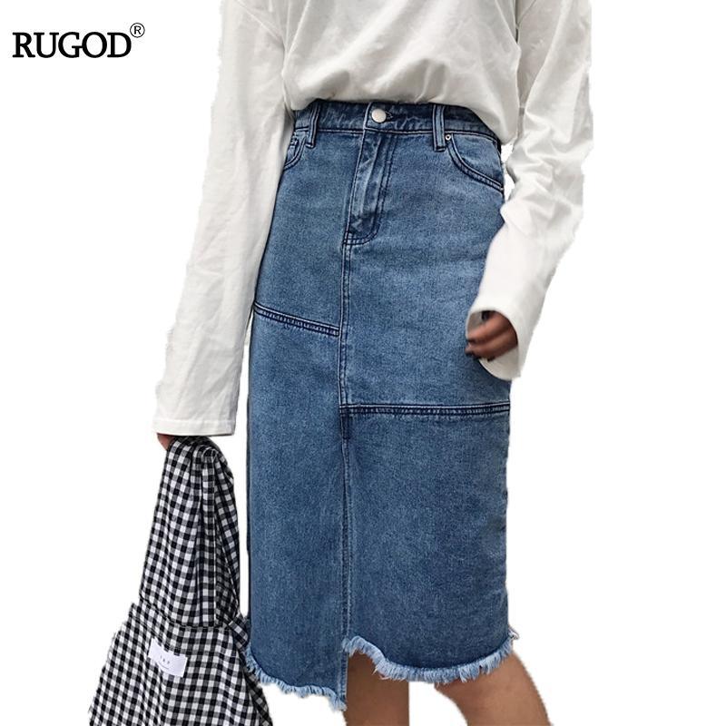 Rugod Chic Mode Denim Taille 2018 Patchwork Jupe Acheter Femmes dCthxsQr