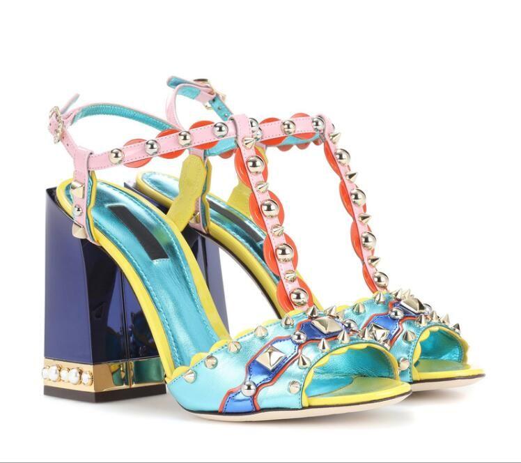 e297382efd7 Newest Luxury Design Women Shoes Mixed Color T-strap Rivets Sandals ...