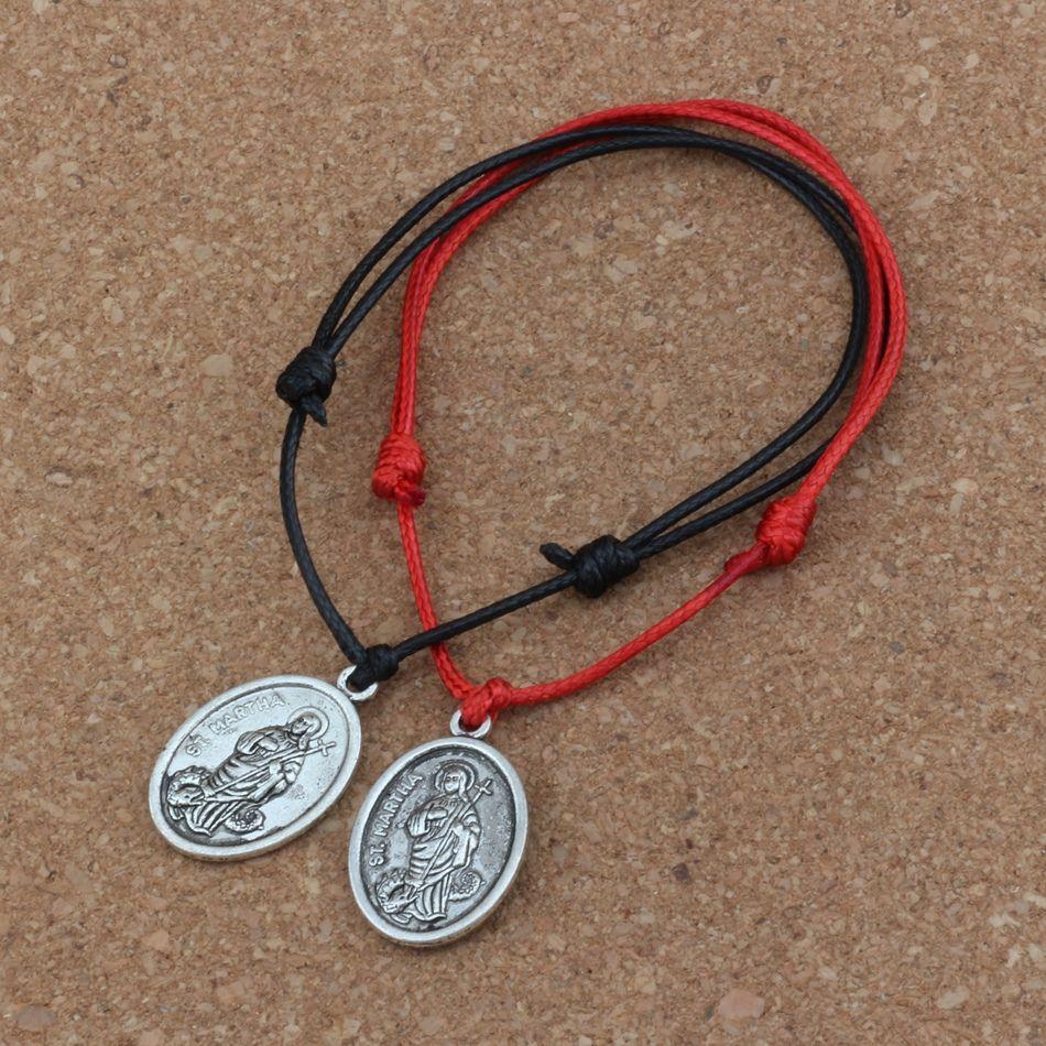 / ST. MARTHA Colgante ajustable Kabbalah Corea pulseras de algodón encerado rojo negro B-249