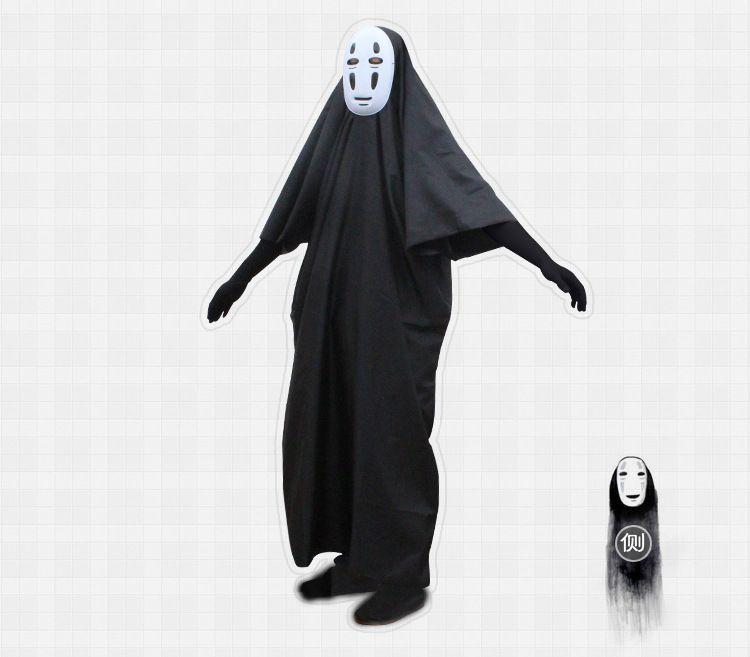 No Face Man Spirited Away Costume Cosplay con maschera guanti Halloween Costume Anime Miyazaki Hayao Faceless Cloak