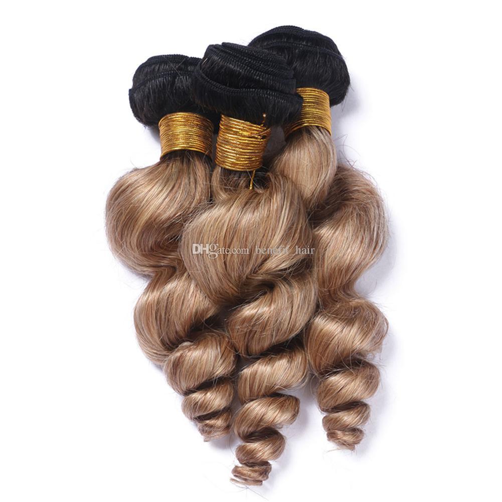 دارك روتس 1B 27 نسج الشعر مع إغلاق الدانتيل أومبير شقراء اللون 1B 27 اثنين من لهجة إغلاق مع الشعر موجة فضفاضة 3 حزم