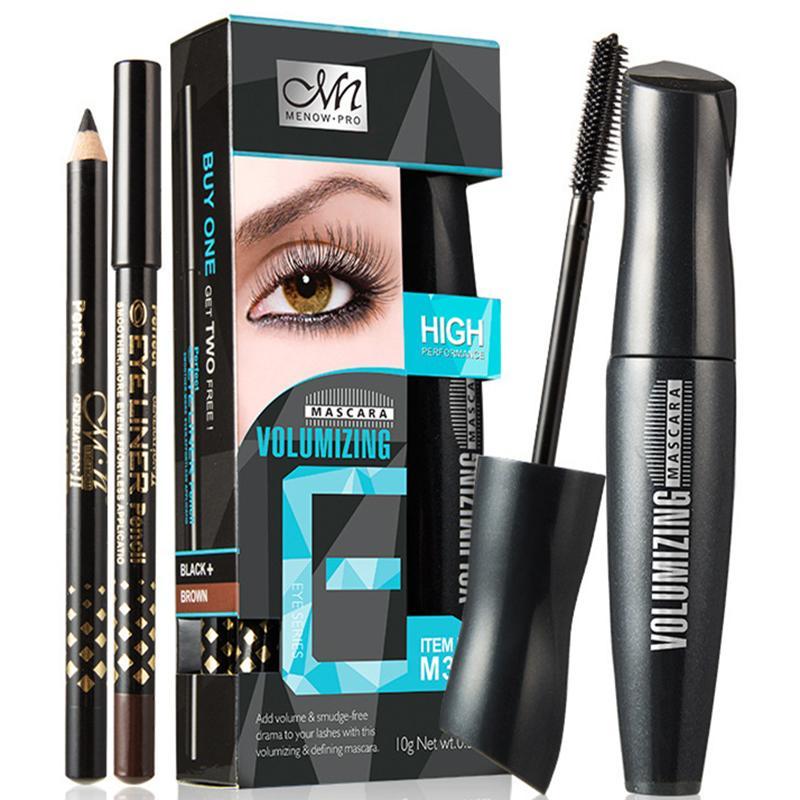 JEYL Hot MENOW Makeup Set Mascara with 2pcs Eye Liner Pencil Volumizing  Waterproof Mascara Black Brown Eye Pen High Quality#