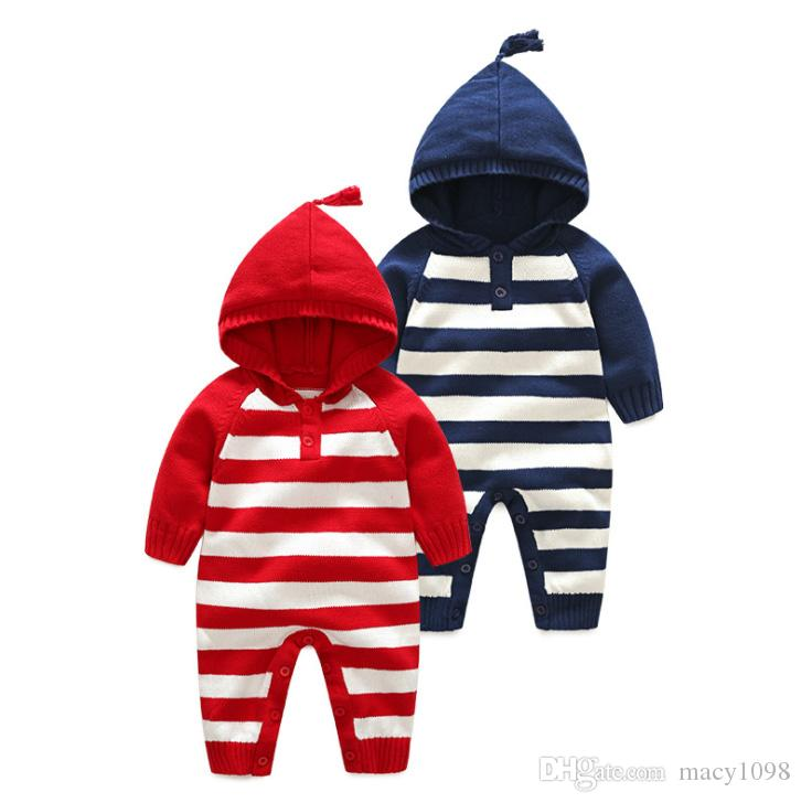 fb440c0389d4 2019 Newborn Baby Girls Boys Knitted Rompers Infant Kids Clothes Knitwear  Hooded Sweaters Cotton Striped Jumpsuits Hot Sale From Macy1098