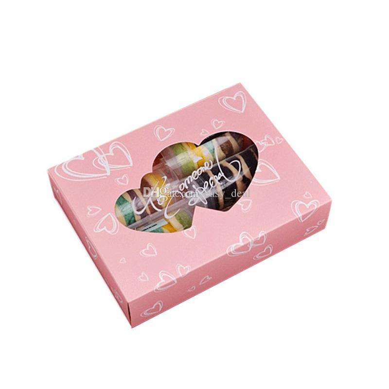 Caja de dulces de papel de Kraft de color rosa Embalaje de regalo Craft Galletas de panadería Caja de galletas Caja de ventana de PVC de doble corazón QW7037