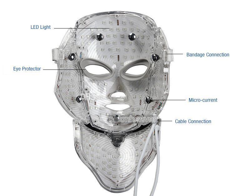 PDT LED Işık Terapi Makinesi 7 Renkler Yüz ve Boyun Maskesi Yüz Gençleştirme Akne Kırışıklık Kaldırımı LED Yüz Maskesi Microcurrent ile Kaldır