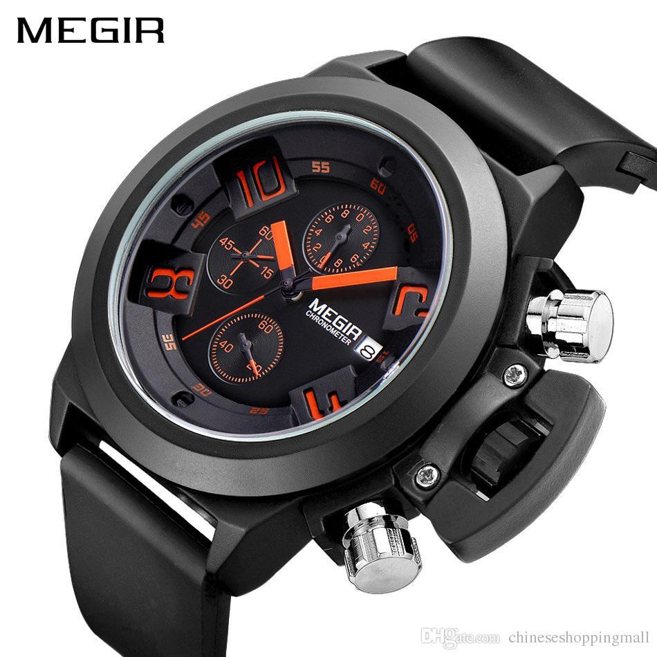 549bca7df85 Compre MEGIR Criativo Homens Esporte Relógio Top Marca De Luxo Militar Do  Exército Relógios Relógio Homens Cronógrafo De Quartzo Relógio De Pulso  Relogio ...