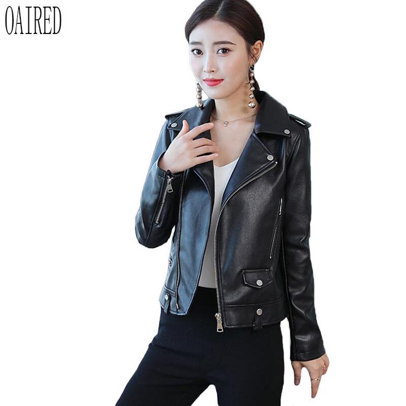 cheap for discount 483d9 0775e Giubbotto in pelle nera OAIRED Donna 2018 Cappotto in pelle nuova Giacca  corta da donna in cotone