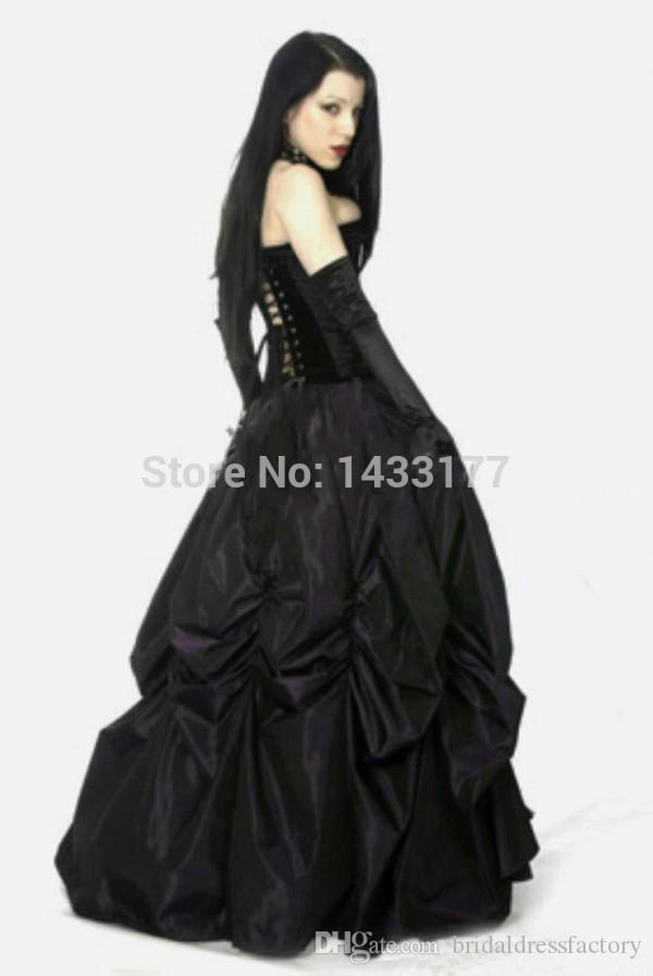 New Arrival Available Long Gothic Black Prom Dresses 2018 With Sexy Tight Corset Tops Z476