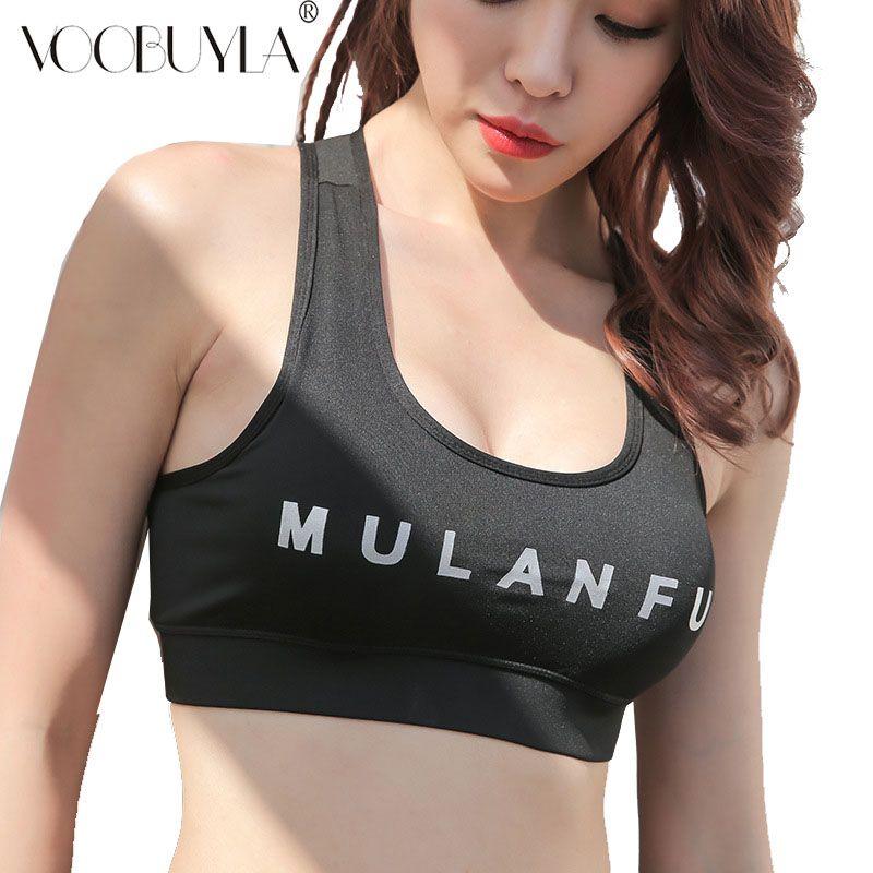 543c6a7ecb 2019 Voobuyla Womens Sport Bra Fitness Yoga Running Vest Letter Print  Underwear Padded Crop Tops Underwear No Wire Rim Bras Female From Ahaheng