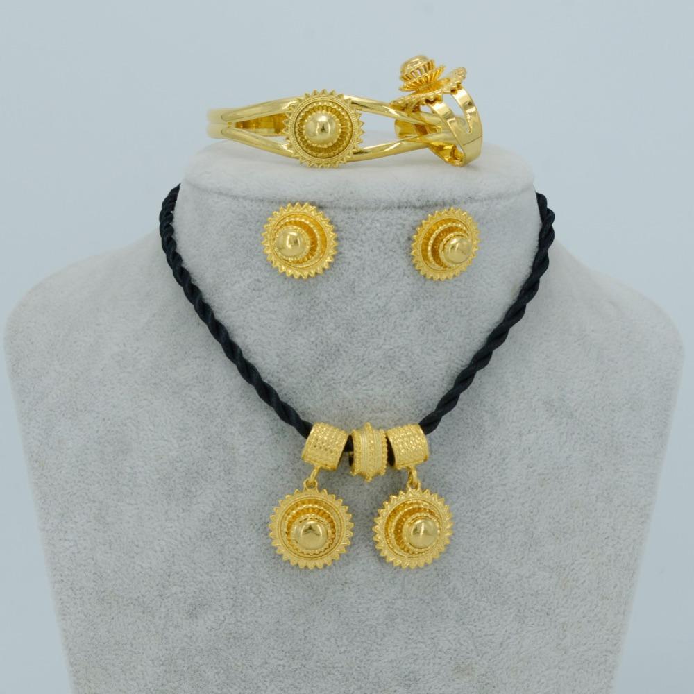 Anniyo äthiopischen nationalen Schmuck Set Halskette / Ohrringe / Armreif / Ring Gold Farbe Habesha Schmuck Sets, Afrika Hochzeit # 045806