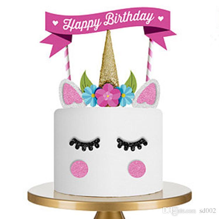 Grosshandel Einhorn Flags Ornament Cartoon Happy Birthday Kuchen