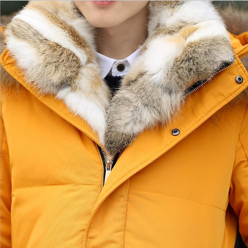 Plus size 5XL 2017 New winter High Quality duck down jacket men coat parkas Wool Liner male Warm Clothes Rabbit fur collar a609