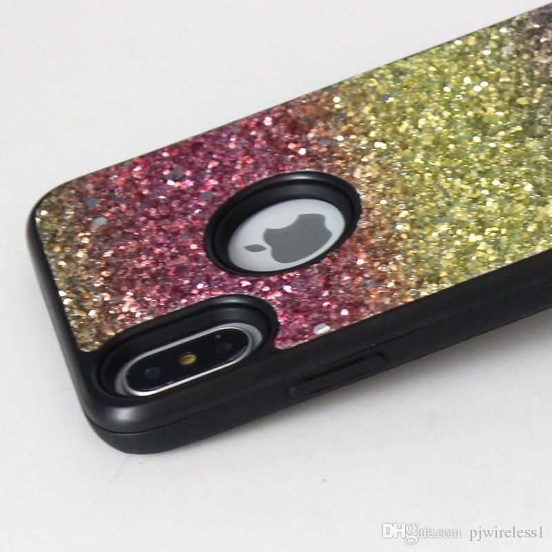 For iphone x bling 2 in 1 Luxury diamond rhinestone glitter back cover phone case For Samsung galaxy s9 case s9 plus B
