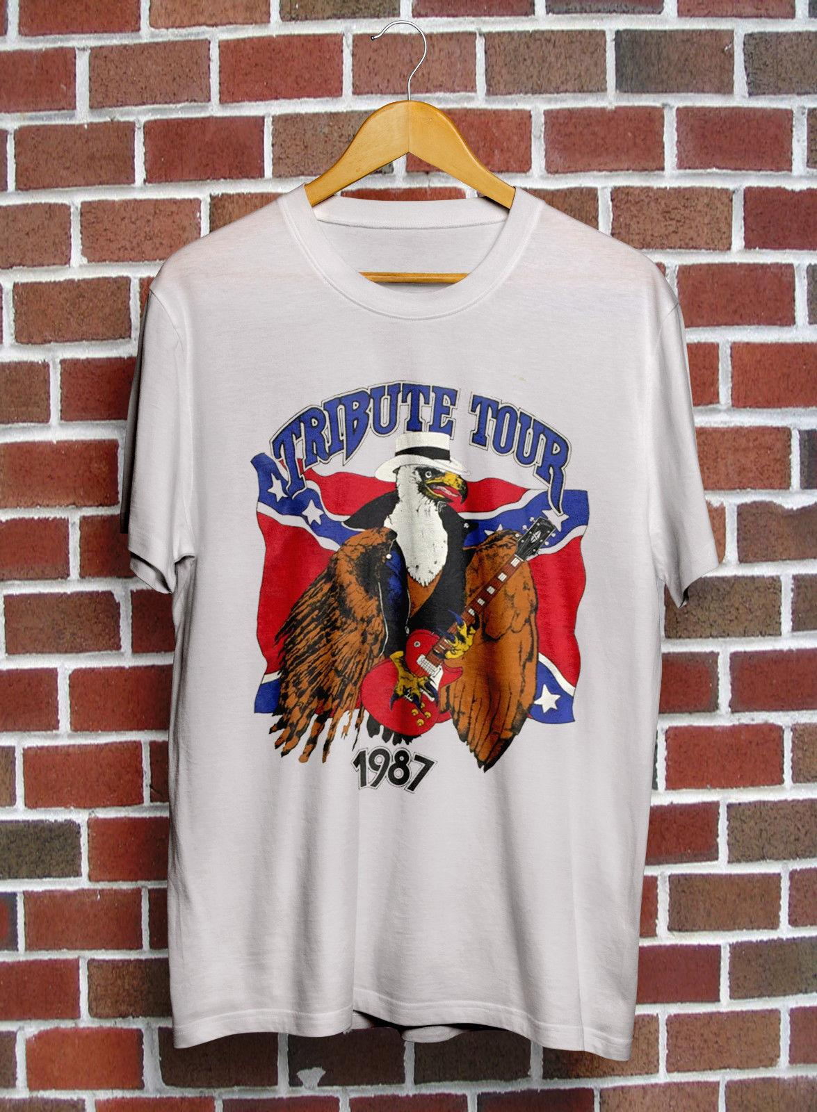 Vintage Rare!! Lynyrd Skynyrd Concert T Shirt Tribute Tour 1987 TOP !!  summer Hot Sale Men T-Shirt Top New Tee Print