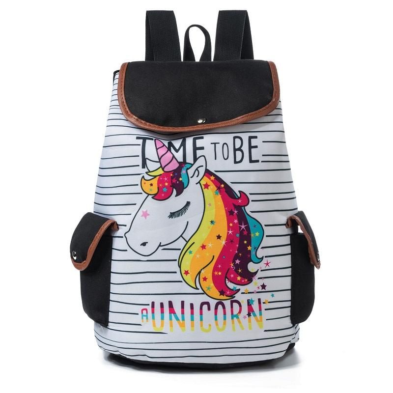 Zaini Miyahouse con coulisse Design Zaino casual colorato con stampa unicorno borsa da scuola ragazze Zaino da viaggio a strisce alla moda