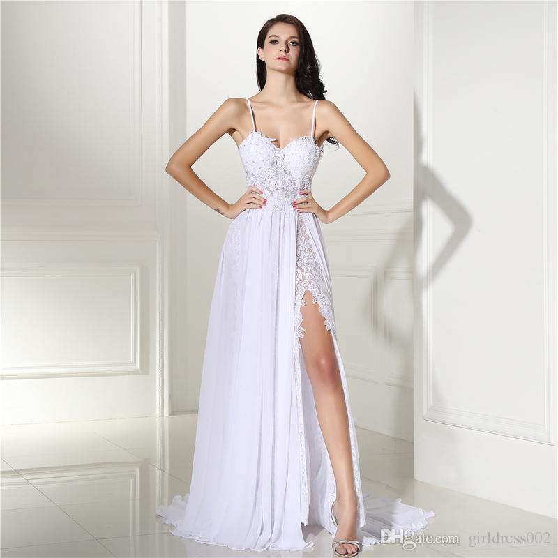 Real Photo Modest Backless Vestidos De Noiva De Praia 2017 Robe De Mariage Dividir Rendas Vestidos De Noiva Casamentos Vestido