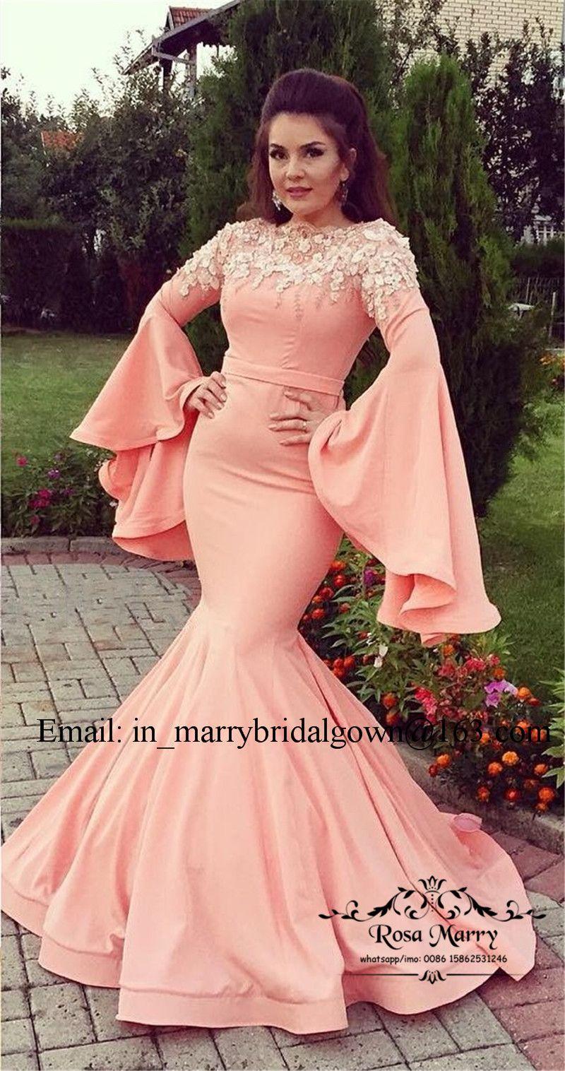 Sexy maniche lunghe sirena arabo abiti da sera 2020 Plus Size Vintage pizzo 3d floreale caftano abaya economici formale celebrità prom party abiti