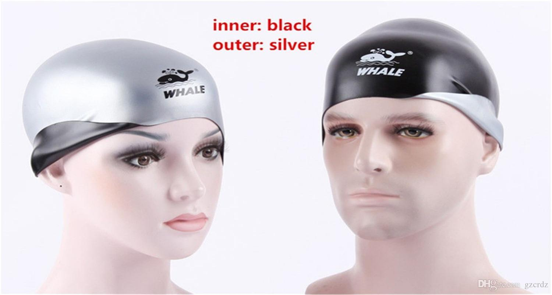 Gorra de natación de silicona premium 2-EN-1 - reversible - Llévala en ambos lados - Gorra de baño sin arrugas para hombres y mujeres