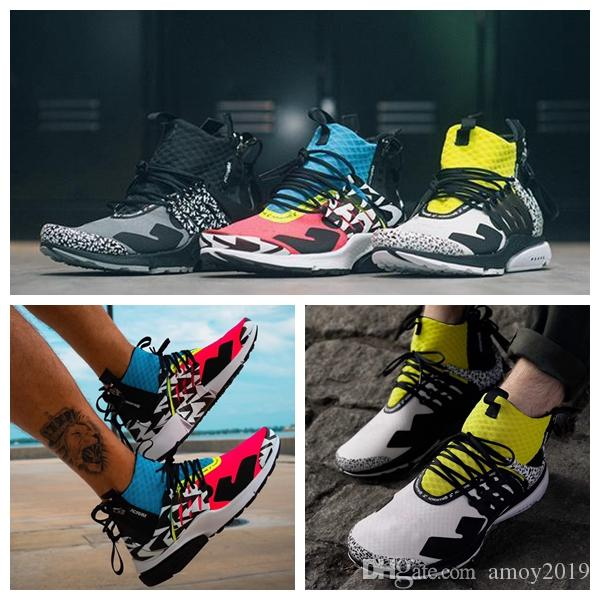 best sneakers 7ee5f 0b409 2018 Air Zapatillas Famous Acronym x Presto Mid Running Shoes Racer Pink  Triple Withe Black Prestos Women Mens Trainers Fly Authentic Sports