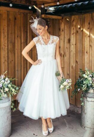 compre años 50 vintage tobillo longitud cortos vestidos de novia cap