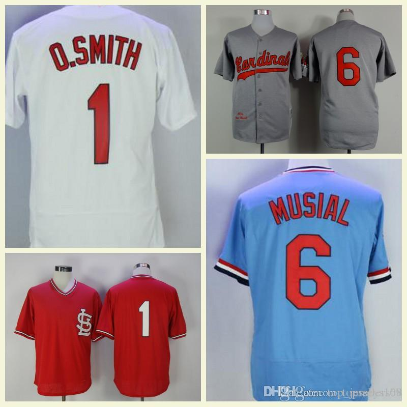 the latest 6c75a 21a49 Ozzie Smith Jersey Retro Cardinals Jersey Stan Musial Red Schoendienst  White Hemp Grey Red Blue Flex Base Stitched Vintage Baseball