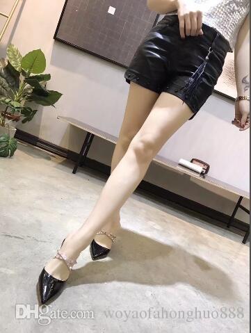 Femmes rivet chaton talon pantoufles en cuir véritable talons hauts goujons chaussures luxe designer été style sandales chaussures