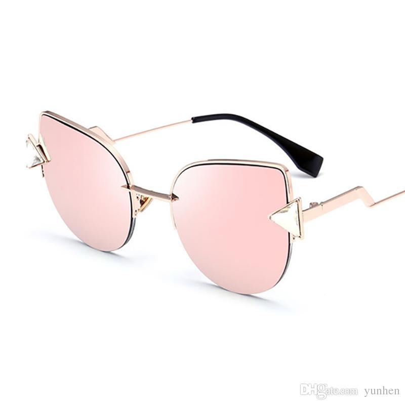 bf876d6ef3fb HOKU New Cat Eye Hot Sell Sunglasses Women Personality Metal Frame Fashion  Sun Glasses Ladies Classic Triangle Diamond W148 Sunglasses Hut Reading  Glasses ...