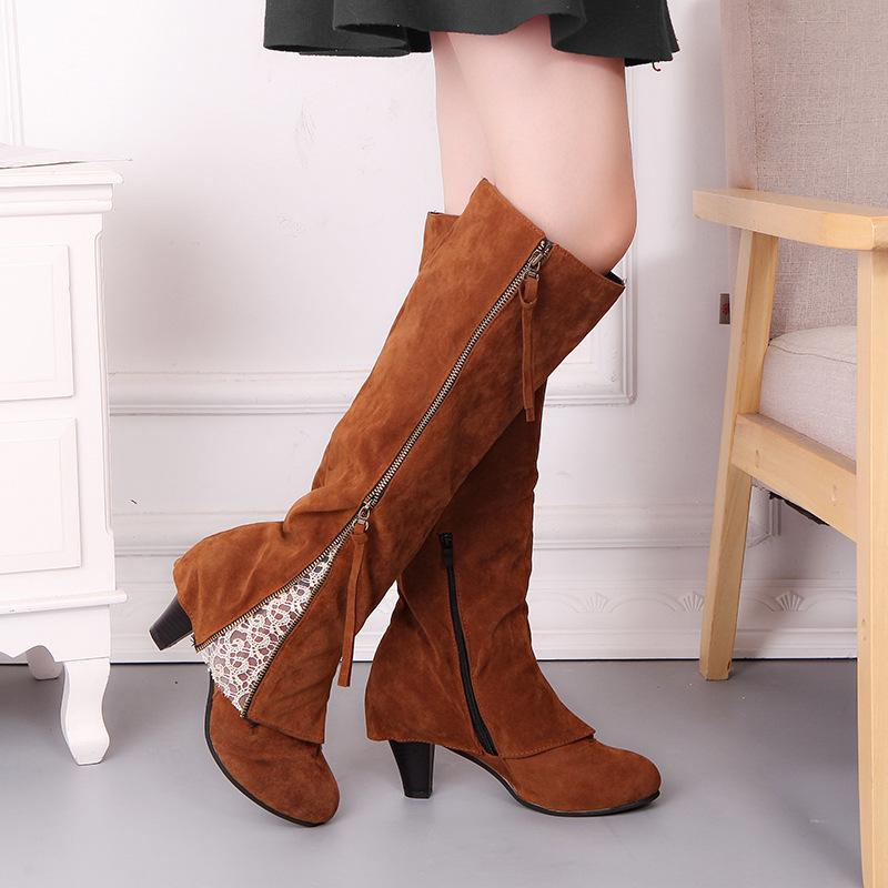 Winter Women Boots Fashion Fringe Zipper Lace Ladies High Heel Boots