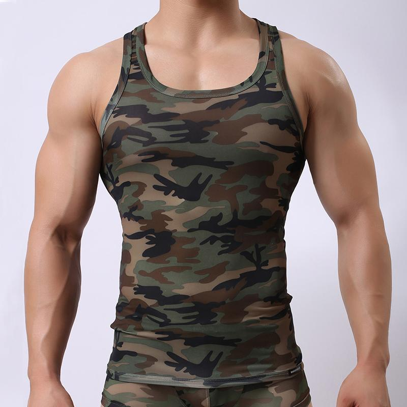 d06ea37c6d88a7 2019 Mens Running Tank Tops Army Camo Camouflage Printed Sleeveless Sport  Running T Shirt Muscle Jogging Athletic Male Clothing M XL From Dinaha