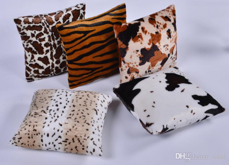 Peluş Hayvan Zebra Leopar Kaplan Doku Baskılı Atmak Yastık Kılıfı Kanepe Yatak Ev Dekor Yastık Örtüsü Atmak Yastık Koyu