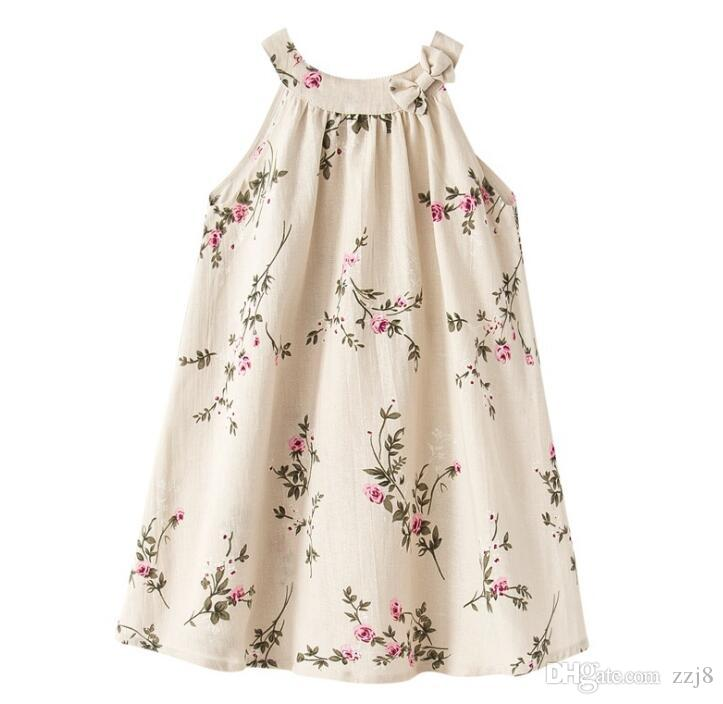 New Linen Casual Dresses for Children Girls Clothing Rose Flower Vine Print Breathable Kids Dress 1-12 Years old Wholesale